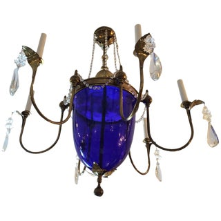 Vintage Cobalt Blue Glass and Brass Chandelier For Sale