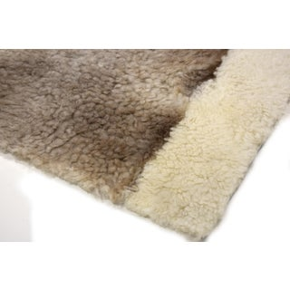 """Sheepskin Wool Rectangle Decorative Rug Off-White Brown 2'6""""x3'5"""" Preview"""