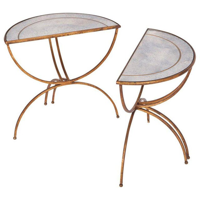 Maison Baguès Demi-Lune Sidetables With Mirrored Glass Tops For Sale - Image 13 of 13