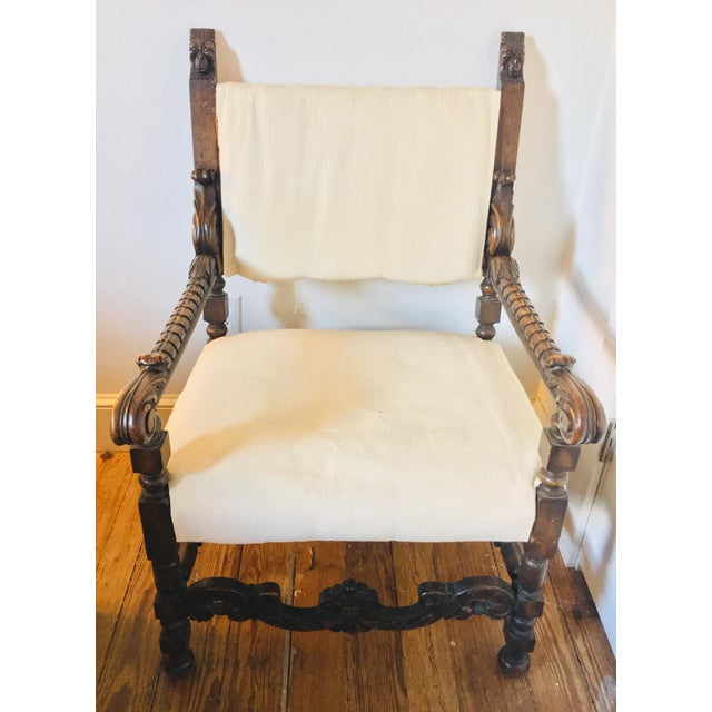 Wood 17th Century Carved Walnut Renaissance Chair For Sale - Image 7 of 12