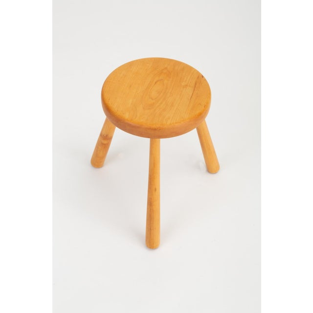 Pine French Rustic Modern Three-Legged Stool in Pine Wood For Sale - Image 7 of 10