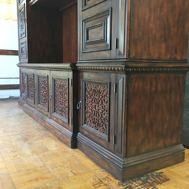 British Colonial Hardwood & Veneer Entertainment Console with Hutch Towers - Image 9 of 9