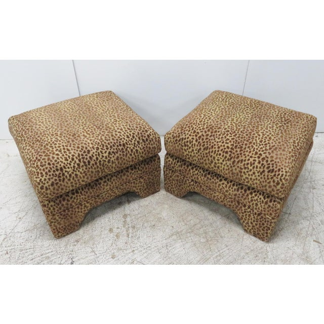 Traditional Leopard Upholstered Ottomans - A Pair For Sale - Image 3 of 5