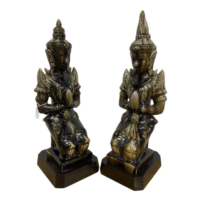 Large Ceramic Mottled Green Buddha's on Stands- a Pair For Sale