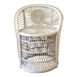 Vintage Small Peacock Wicker Rattan Fan Chair For Sale