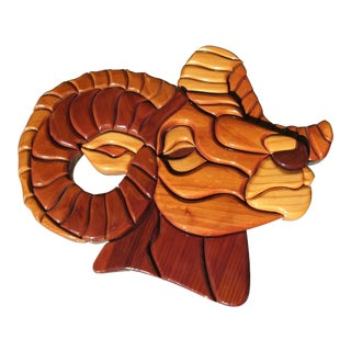Handmade Wooden Rams Head Wall Sculpture For Sale