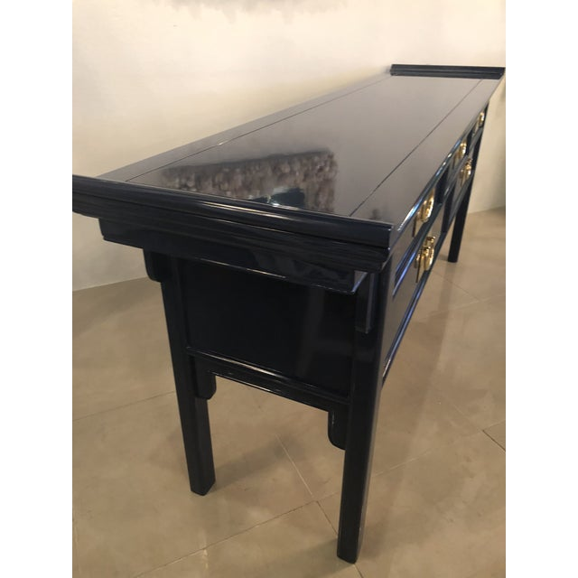 Vintage Century Furntiure Pagoda Navy Blue Lacquered Brass Hardware Console Table For Sale - Image 10 of 11