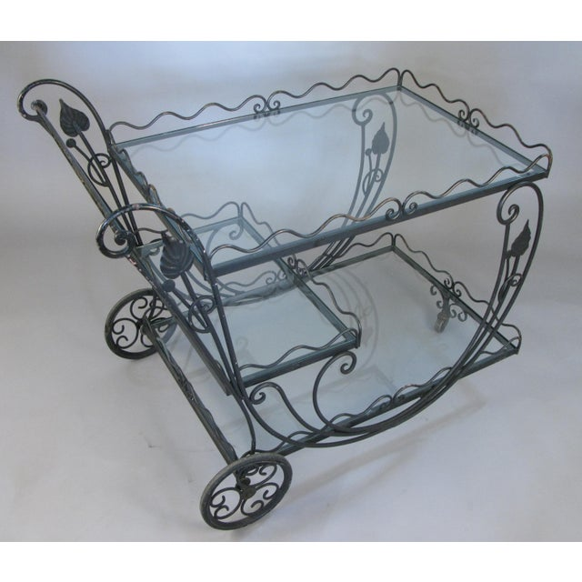 Metal Vintage 1950's Wrought Iron Scroll Bar Cart For Sale - Image 7 of 8