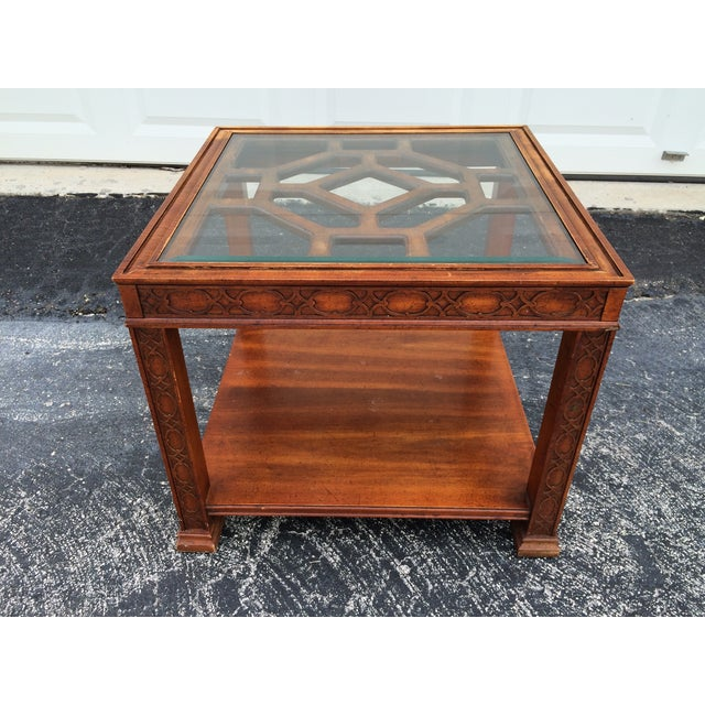 Chinese Chippendale Wood Fretwork Side Table - Image 2 of 7