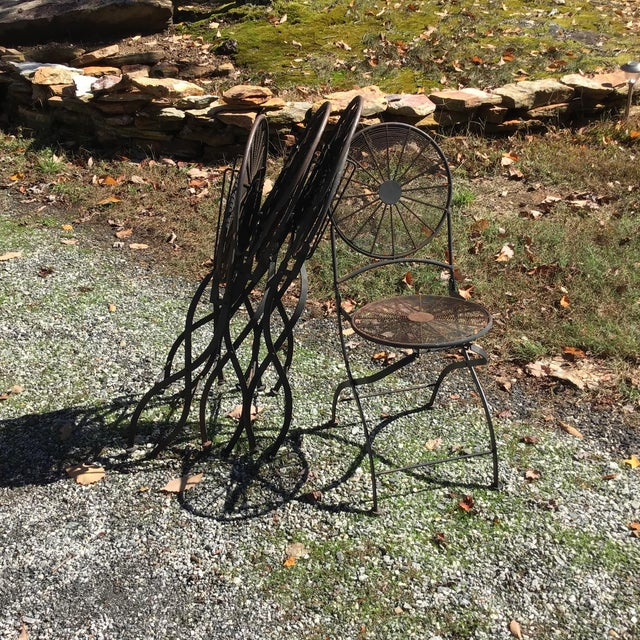 Art Deco 1960s Vintage Wrought Iron Pinwheel Bistro Style Folding Chair- Set of 4 For Sale - Image 3 of 13