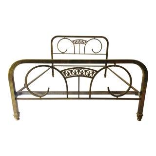 1910s Art Nouveau Solid Brass Double-Sized Bedframe