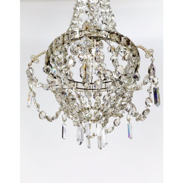 Delicate Crystal & Wire French Regency Tent Chandelier For Sale - Image 10 of 13