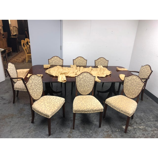 Design Plus Consignment Gallery has a William Tillman dining set that consist of the table and set of eight chairs. Table...