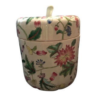 20th Century French Ceramic Flowered Lidded Jar For Sale