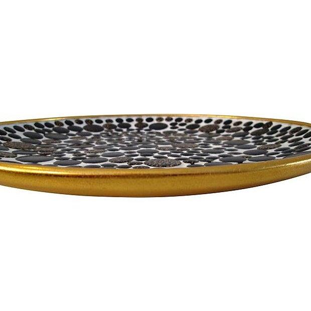Mid-Century Black & Gold Mosaic Tile Bowl - Image 3 of 4