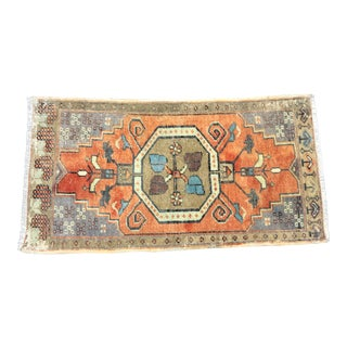 Vintage Faded Turkish Handmade Decorative Orange Rug For Sale