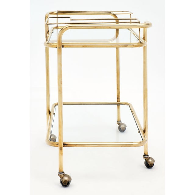 Gold Mid-Century Brass and Glass Bar Cart For Sale - Image 8 of 10