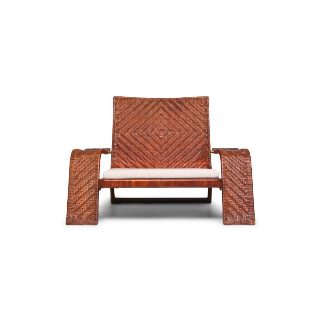 1970s Postmodern Lounge Chair in Woven Leather by Marzio Cecchi For Sale - Image 10 of 10