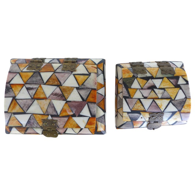 Inlaid Over-Dyed Bone Boxes - A Pair - Image 1 of 10