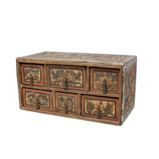 Primitive Antique Carved and Hand-Painted Wood Box With Drawers For Sale