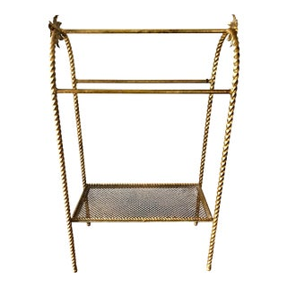 Vintage Italian Gilt Iron Towel Rack For Sale