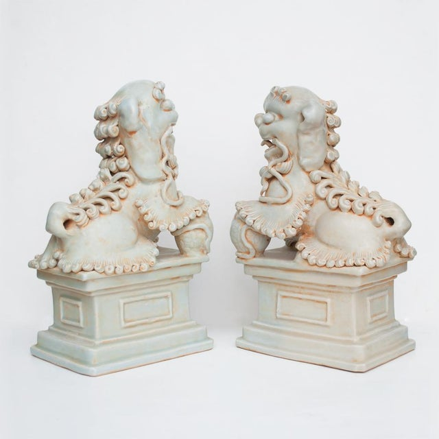 Ceramic 20th Century Large Chinese Celadon Foo Lions - a Pair For Sale - Image 7 of 13