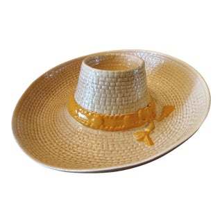1950s Majolica Straw Cowboy Hat Chip and Dip Platter For Sale