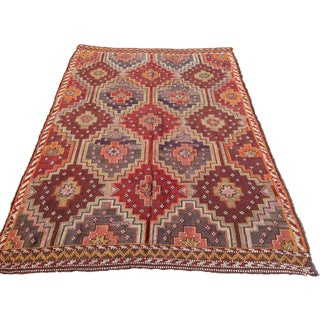 "Multicolor Handwoven Turkish Kilim Rug 6'6""x9'5"""