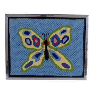 Framed Butterfly Needlepoint Textile Art For Sale