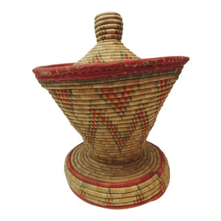 Vintage Colorful African Round Basket With Lid For Sale
