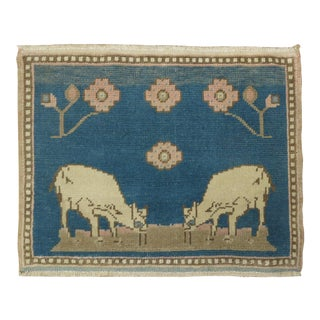 Blue Sheep Goat Pictorial Rug, 1'7'' X 1'11'' For Sale