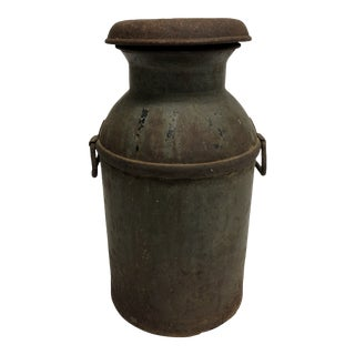 Vintage Rustic Metal 10 Gallon Milk Can With Lid For Sale