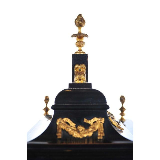 Black 19th C. Reid & Sons Triple Fusee Ebony & Gilt Mantel Clock For Sale - Image 8 of 8
