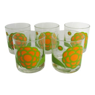 Vintage Mid-Century Modern Colony Orange and Green Floral Rocks Glasses - Set of 5 For Sale