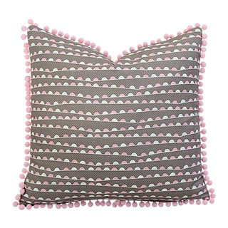 "19"" Custom Tailored Pink & White Feather/Down Pillow W/ Pom-Pom Trim For Sale"