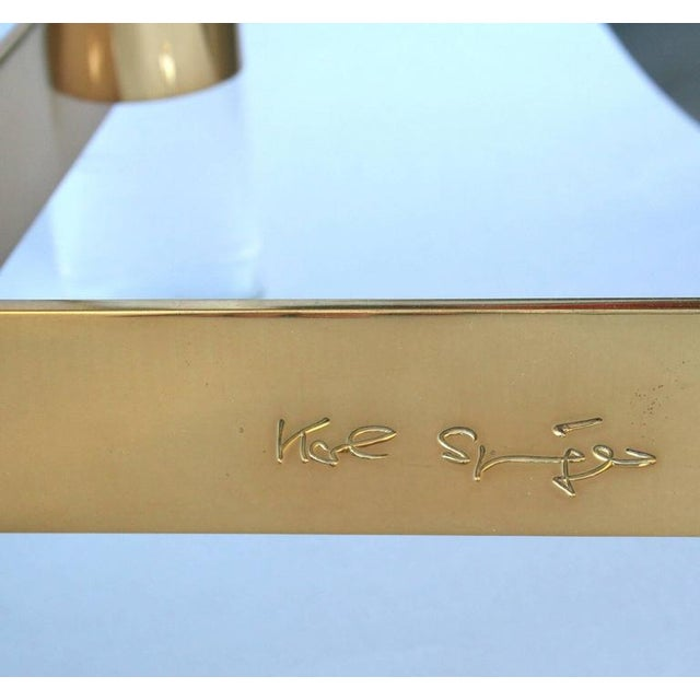 Modern Karl Springer Lucite and Brass Occasional Table For Sale - Image 3 of 7