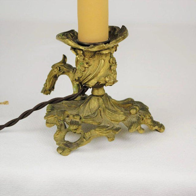 Bronze Candle Holder Lamp For Sale - Image 4 of 7