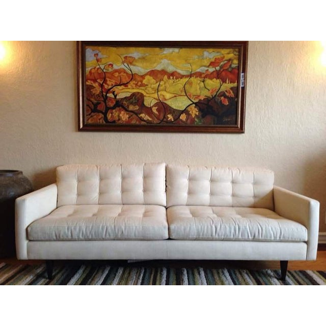 Crate & Barrel Contemporary White Tufted Sofa - Image 2 of 7