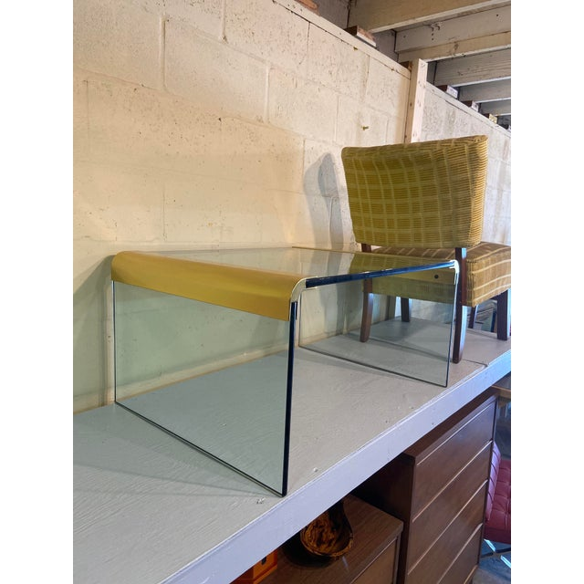 """Mid-century modern Waterfall Collection side table by Leon Rosen. Sleek design, 3/4"""" heavy, thick glass with signature..."""