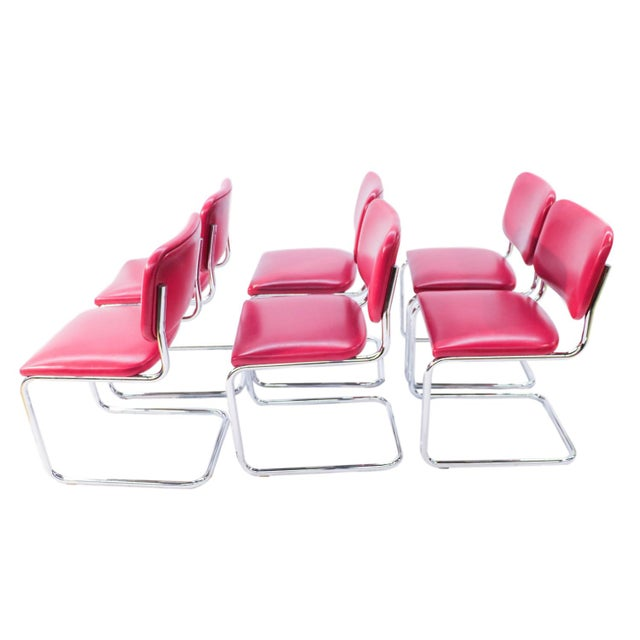Loewenstein Mid-Century Chrome Cantilever Chairs - Set of 6 - Image 6 of 9