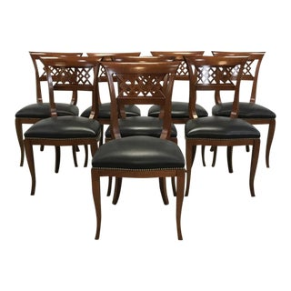Black Leather Nailhead Dining Chairs - Set of 8