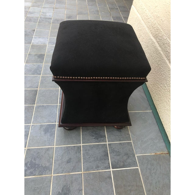 Wood Black Mohair & Mahogany Hourglass Ottomans by George Smith -A Pair For Sale - Image 7 of 10