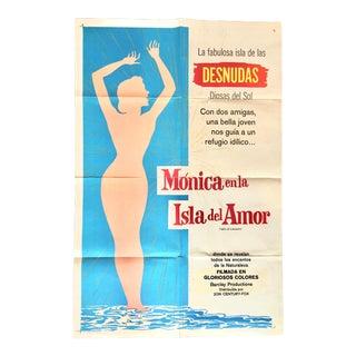 Vintage Mid-Century Monica en Al Isla Del Amor Foreign Movie Poster For Sale