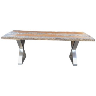 Organic Wood Top Table With Chrome Legs For Sale
