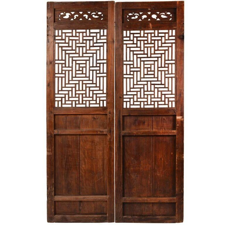 Vintage Chinese Fretwork Panels - A Pair - Image 1 of 7  sc 1 st  Chairish & Vintage Chinese Fretwork Panels - A Pair | Chairish