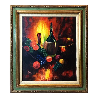 Still Life Oil Painting of Wine & Fruit by Stu. 1970s For Sale
