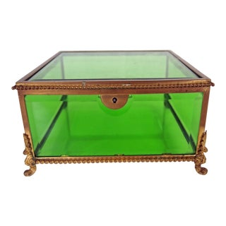 Vintage French Beveled Green Glass Jewelry Box