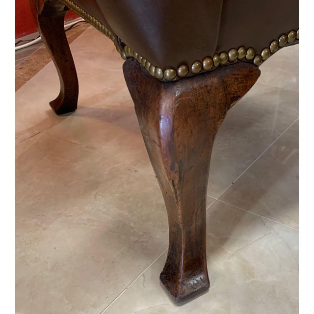 Vintage 18th Century Style Scrolled Wing Chair For Sale - Image 9 of 13