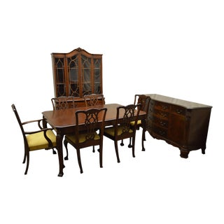 Chippendale Style 1940s Mahogany 9 Piece Dining Room Set