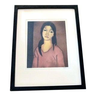Signed John M. Kelly Moki Hawaiian Portrait of Female Framed Aquatint For Sale